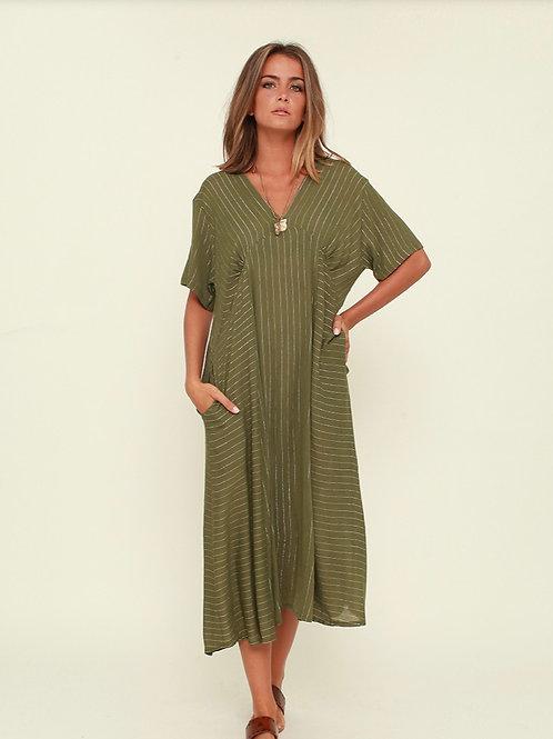 Vestido midi boho verde Vintage Bazaar