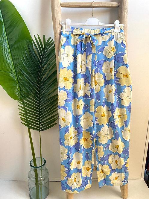 Calça pantalona flores azul