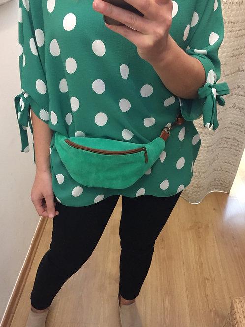 Bolsa de cintura verde camurça e pele genuína BC