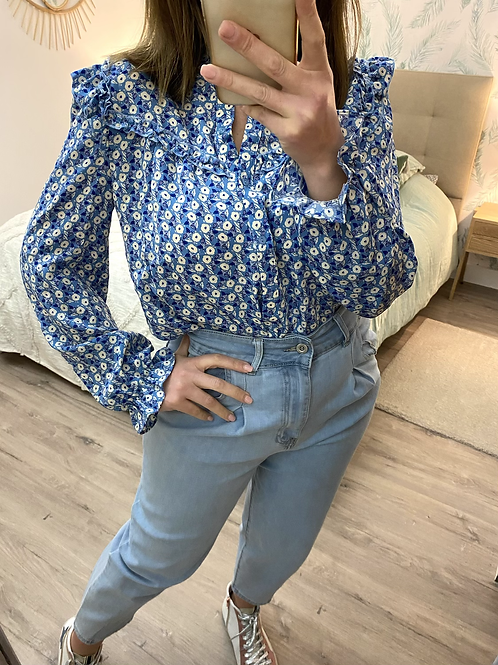 Camisa estampada flores azul