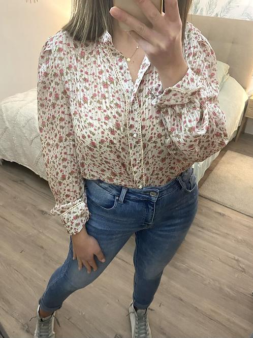 Blusa estampada florzinhas rosa/verde