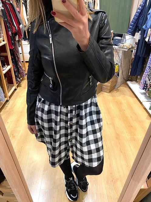 Blusão eco-pele preto Morgan