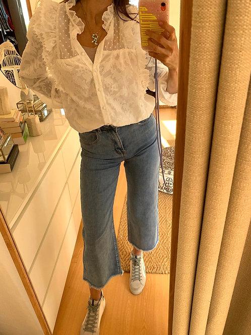 Jeans cullote cintura alta
