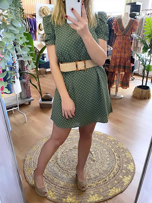 Vestido verde pintinhas