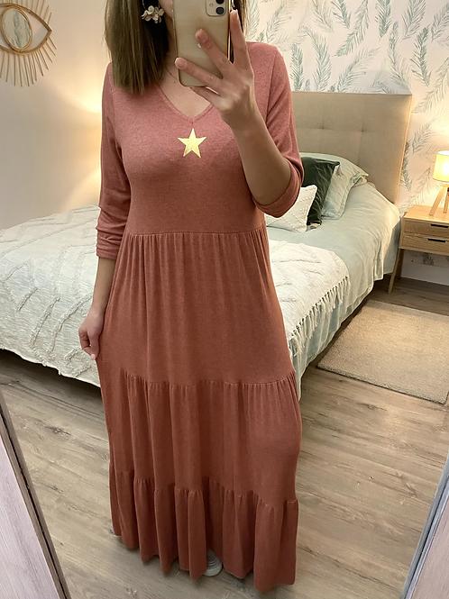 Vestido de malha com estrelinha telha