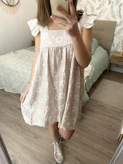 Vestido linho estampado rosa