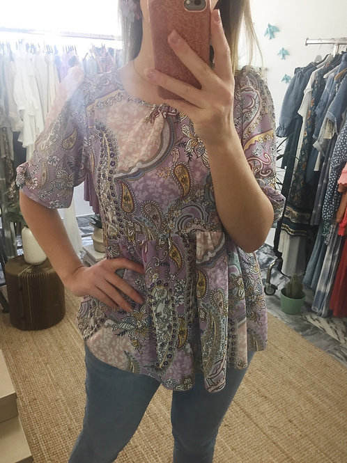 Blusa estampa floral lilás