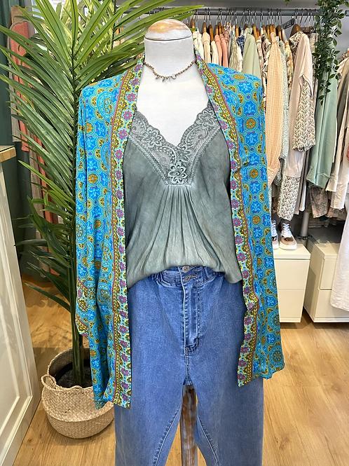 Kimono seda turquesa