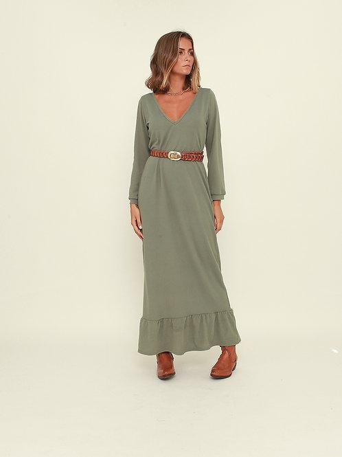 Vestido comprido liso verde Vintage Bazaar