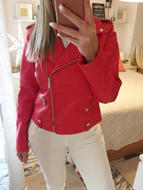 Blusão eco-pele vermelho Morgan