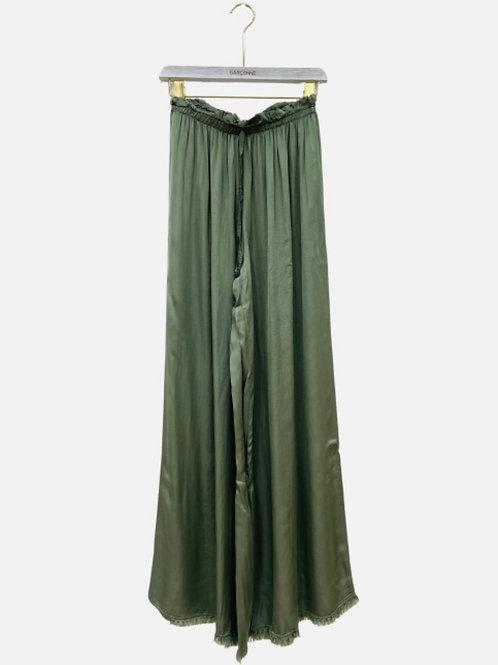 Calça pantalona seda verde