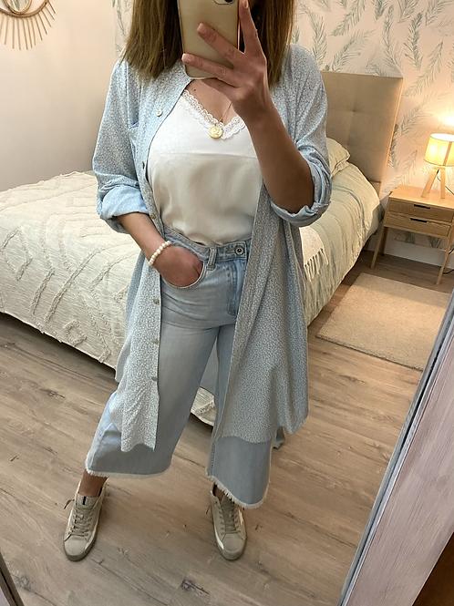 Camisa/túnica florzinhas celeste