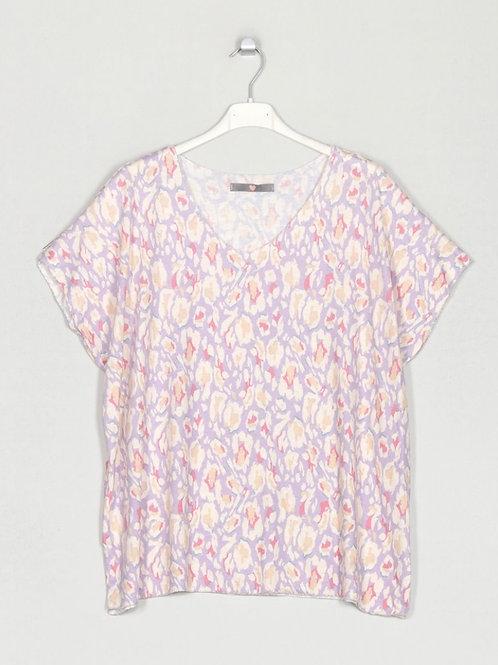 Camisola de malha fininha estampa lilás