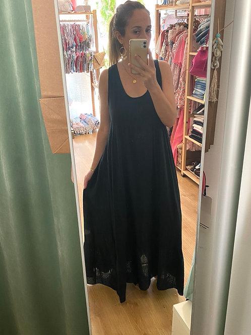 Vestido comprido atado costas preto