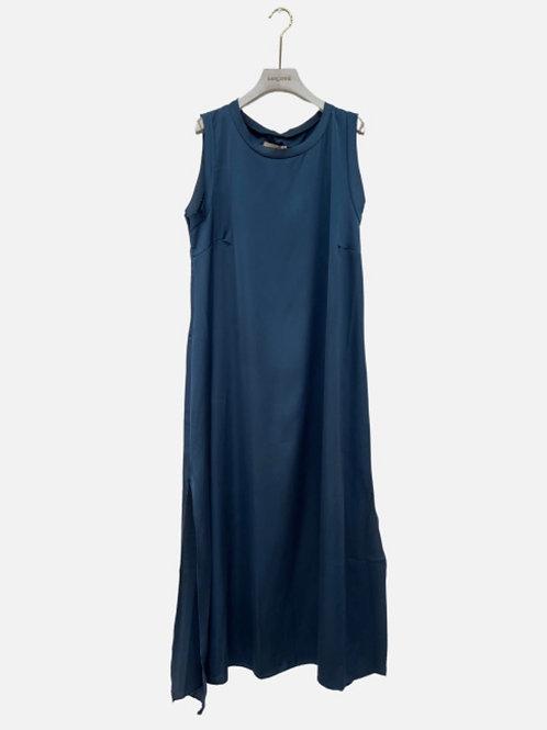 Vestido direito rachas laterais azul