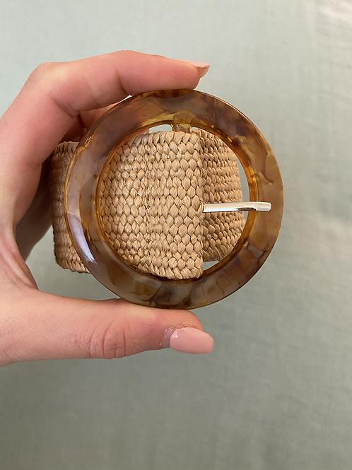 Cinto elástico c/fivela redonda natural 3
