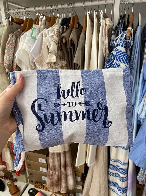 Bolsa hello summer riscas azul