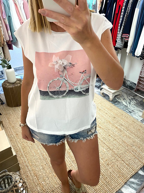 T-shirt bicicleta c/pedras