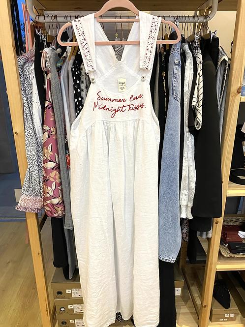 Vestido/jardineira linho com bolsos summer branco