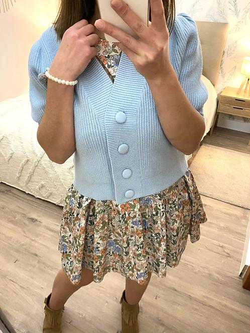 Casaco de malha manga balão azul