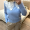 Thumbnail: Camisola de malha gola bordada azul