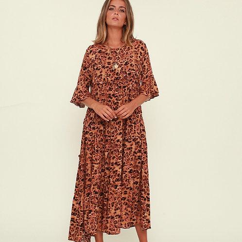 Vestido midi leopardo camel Vintage Bazaar