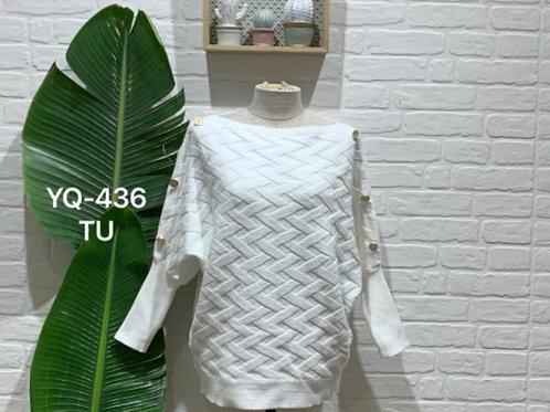 Camisola de malha entrançada branco