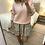 Thumbnail: Camisola de malha decote V com rendinha rosa