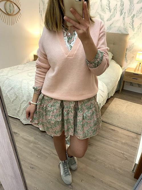 Camisola de malha decote V com rendinha rosa