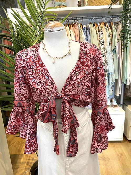 Blusa bolero seda rosa/bordeaux