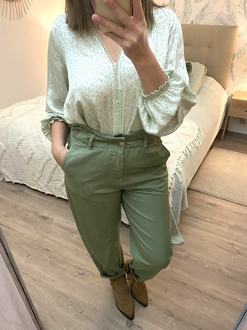Calças baggy sarja verde