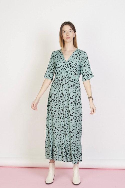 Vestido comprido estampado verde