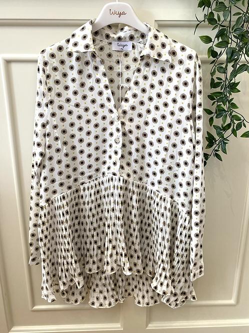 Blusa plissada estampa branco