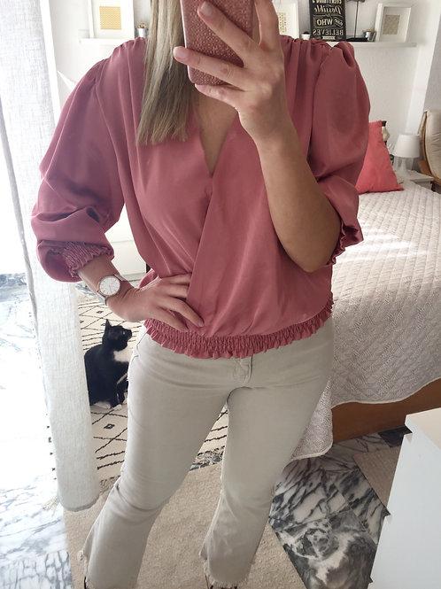 Blusa acetinada c/elástico rosa