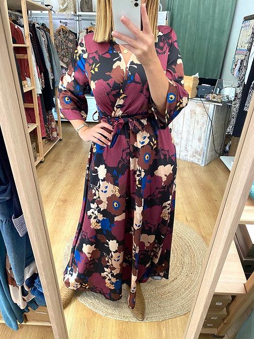 Vestido comprido floral vinho