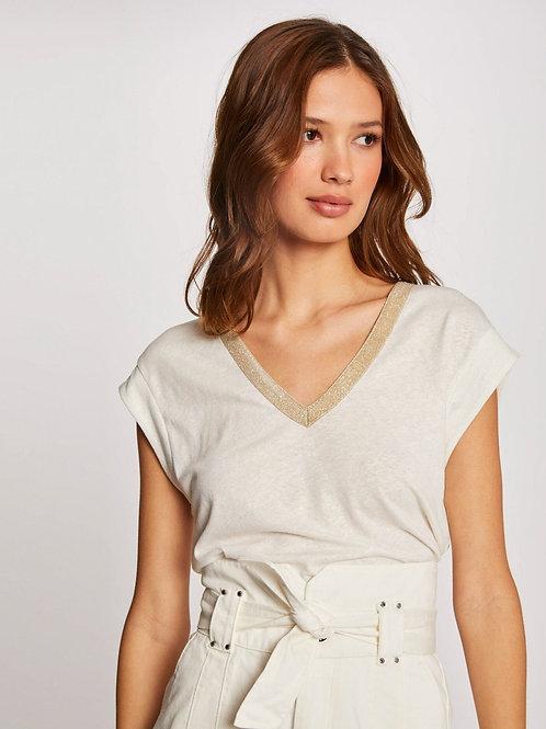 T-shirt com decote V dourado Morgan