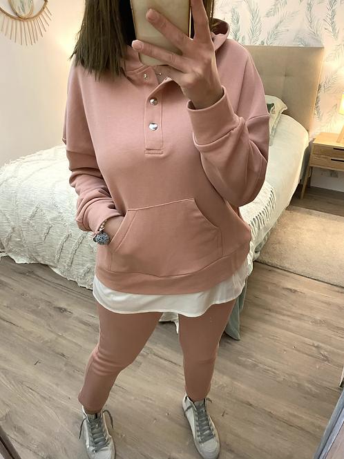 Conjunto de algodão rosa