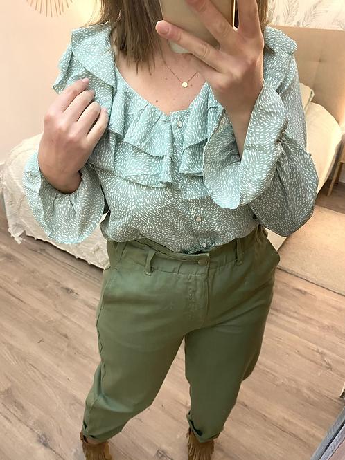 Blusa estampada folhos verde