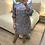 Thumbnail: Vestido estampado azul gola branca