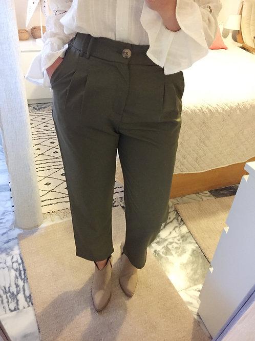Calça cintura subida verde