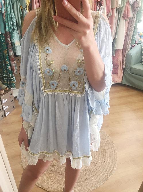 Vestido bordado/rosas azul