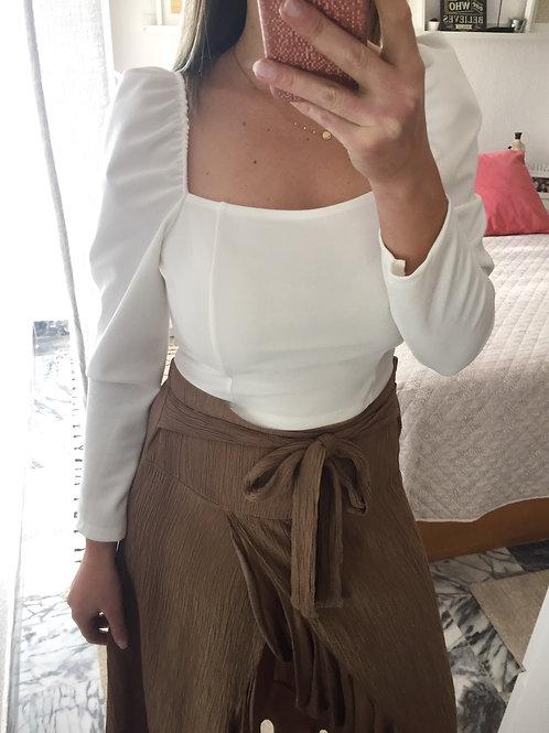 Blusa decote direito manga balão branco