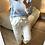Thumbnail: Blusa estampada com punho em renda azul