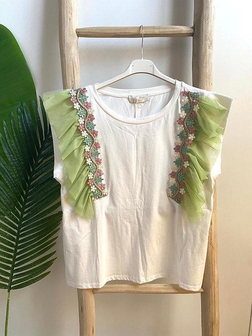 T-shirt mangas tule verde