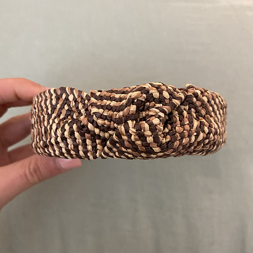 Bandolete ráfia castanho/natural