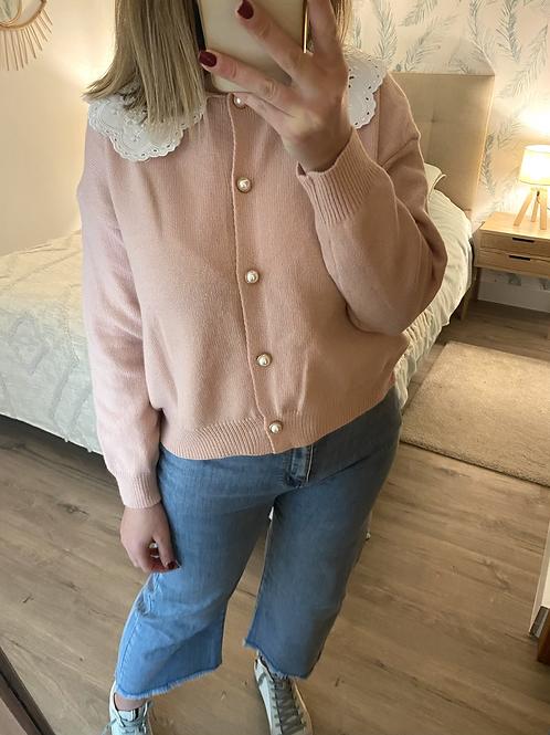 Cardigan de malha com gola bordada rosa
