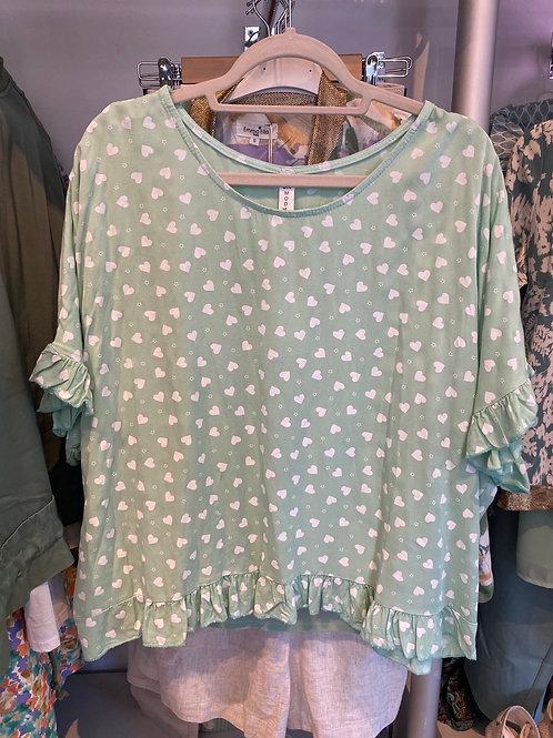 Blusa oversize corações verde