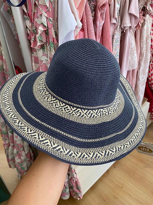 Chapéu 100%fibras naturais mescla azul