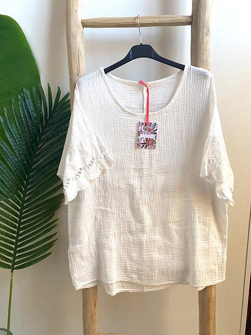 Blusa oversize bordada manga branco