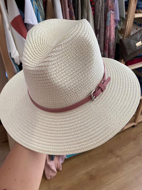 Chapéu natural fivela rosa